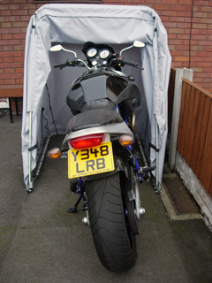 Buel X1 Lighting in a Standard model Bike Barn motorcycle cover stood up to 60mph winds