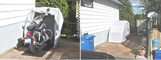 Motorcycle cover storage bike barn as a second garage