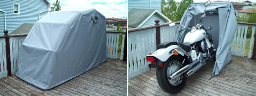 Bike Barn Motorcycle cover deployed on a patio