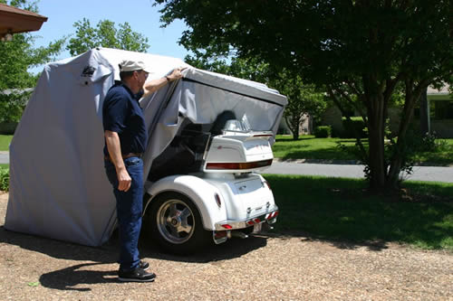 Enclosed Motorcycle Shelter : Trike motorcycle cover covers storage
