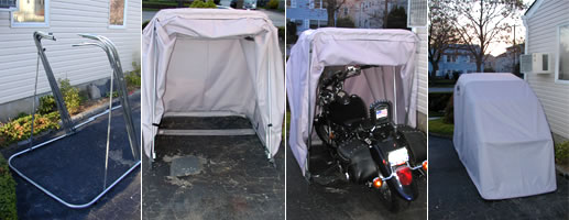 Bike Barn Motorcycle Cover Assembly and finished view