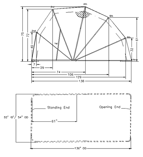 DIMENSIONS - Bike Barn Enclosed Motorcycle Cover Tourer Model Drawing