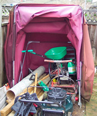 Portable yard equipment storage solution